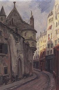 blick in eine alte straße im pariser quartier latin by theodor feucht