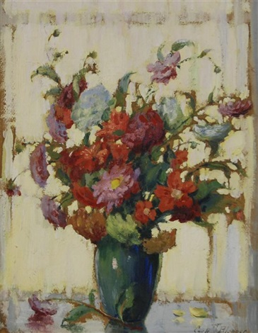 dahlias at the window by carle john blenner