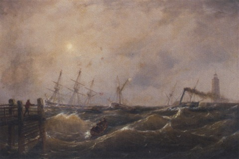 a heavy swell at the harbour mouth by johann baptist weiss