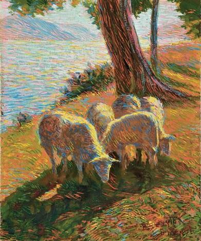 paesaggio lacustre con pecore by benvenuto benvenuti
