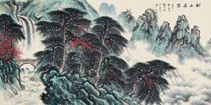 松山飞瀑图 by li xiongcai