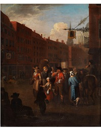 londoner strassenszene mit einem losverkäufer by pieter angillis