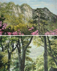 scenery of mount jinggang (+ scenery of mount putuo; 2 works) by lin shengyuan