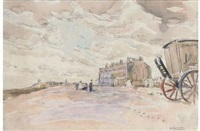 walton on naye: east terrace (+ low tide, carter's bathing machines; 2 works) by robert graham dryden alexander