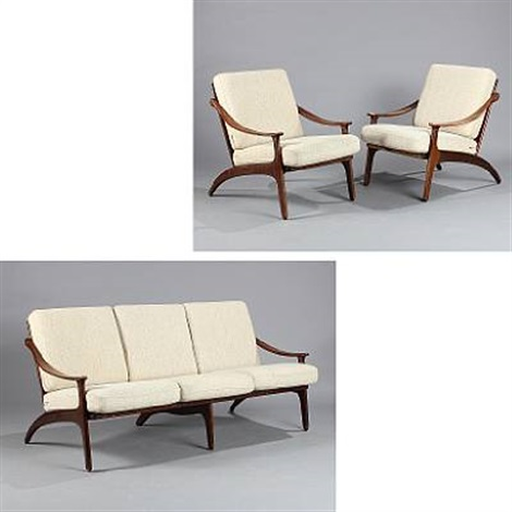 Three-seater sofa and pair of easy chairs set of 3 by Arne Hovmand ...