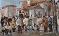contadini e bestiame by ugo vittore bartolini