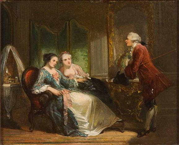 Zwei Damen lauschen einem eleganten Kavalier in herrschaftlichem ...