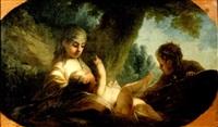 ein mädchen versorgt ein baby, daneben ein junge by joseph melling