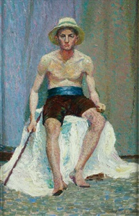 seated male model by tempe manning
