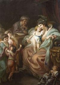 familienglück. eine mutter wird beim briefelesen in einer studierstube von ihren kindern aufgesucht by johann eleazar schenau