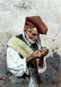 old man with a pipe by michael ciardiello