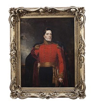 portrait of lord lorton, standing three-quarter length wearing military uniform, with cape by stephen catterson smith