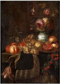 stillleben mit früchten und blumen in einer chinavase by jan frans van son