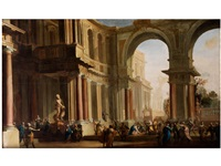 architekturcapriccio mit christus und der ehebrecherin by anonymous-italian