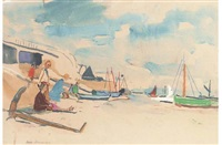 r.d.g. alexander and his wife on the beach at walton on naze (+ 4 others; 5 works) by jean alexander
