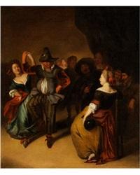 tanzendes paar in heiterer gesellschaft by richard brakenburg
