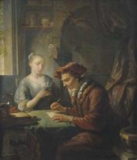 interieur mit junger frau und einem schreiber mit samtbarett und pelzkragen an einem tisch by louis de moni