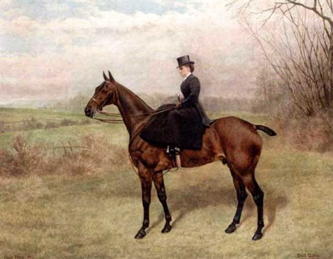 lady riding side saddle in collab wcecil cutler by frank paton