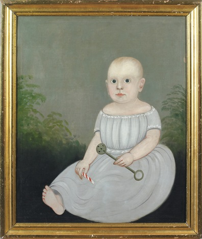 portrait of a baby holding a rattle and peppermint stick by american school prior hamblen 19