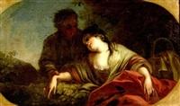 eingeschlafenes mädchen mit korb, das von einem jungen betrachtet wird by joseph melling