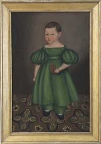 child in a green dress standing on a patterned carpet by joseph whiting stock