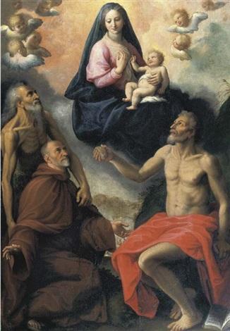 madonna con i santi onofrio gerolamo e un devoto by fabrizio santafede