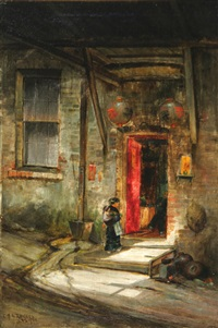 opium den in rags pickers alley, old chinatown, san francisco by charles albert rogers