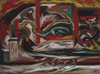composition with vertical stripe by jackson pollock