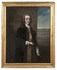 a portrait of maurice eustace, standing three-quarter length in an arcaded courtyard, and wearing a legal gown with full embroidered undercoat by philip hussey