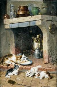 kücheninterieur mit spielenden katzenkindern by victor demongin