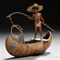 figure of a boy in a canoe by franz bergman