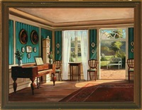 interior with daylight from the window and garden door by frederik wilhelm svendsen