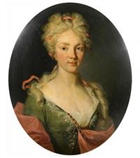 porträt einer adeligen dame mit perlschmuck im haar. mit rückseitgem wappen der berner familie von diesbach by johann rudolf huber the elder