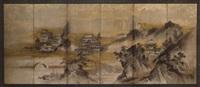 chinesische landschaft mit uferzone, bergmassiv mit pavillons und tempelanlage by sansetsu