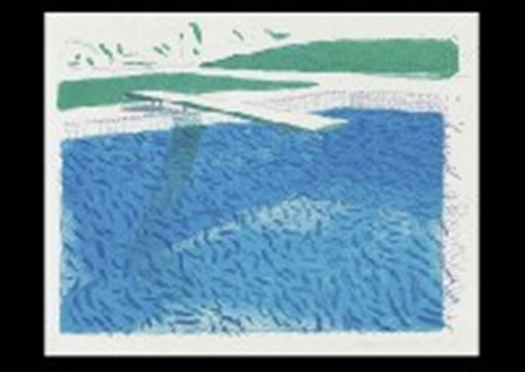 lithographic water made of lines crayon by david hockney