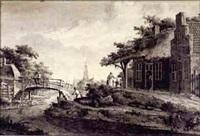 village au bord de l'eau by theodor (dirk) verryck