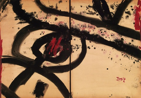 abstract diptych by tang haywen