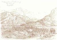 phantastisches salzburg (idealische landschaft in altem stil) by fabius von gugel