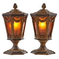 covered urn table lamps (pair) by oscar bruno bach