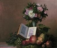 stilleben mit blumenstrauß in jugendstilvase, trauben, äpfeln, nüssen und aufgeschlagenem buch by c. krepelka