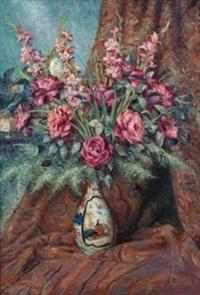 jarrón oriental con flores by josé llaneces