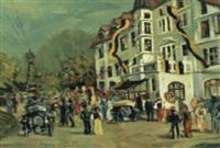 Autorennen am Semmering vor dem ehemaligen Hotel