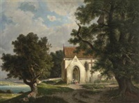 kapelle über dem see by hermann herdtle