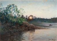 sun setting by the lake by johan fredrik krouthen