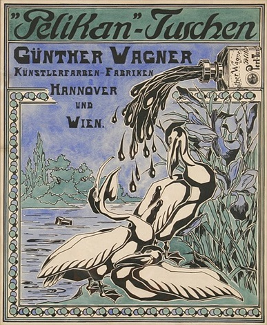pelikan tuschen design for poster by austrian school vienna 20