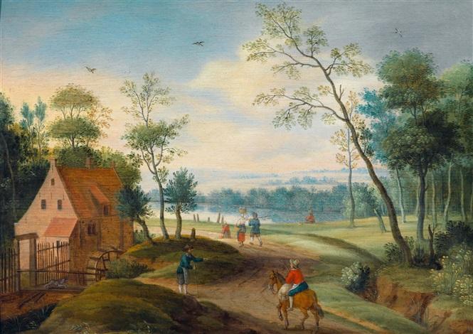 waldlandschaft mit reisenden bei einer wassermühle by isaac van oosten
