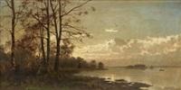kustlandskap i aftonrodnad by arvid mauritz lindström