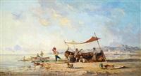 feiernde fischer in südlicher meeresbucht by paul bistaagne
