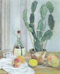 stilleben mit kakteentopf, früchten und chiantiflasche by hermann konnerth