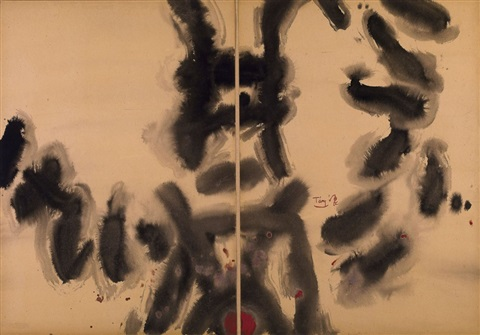black and red diptych by tang haywen